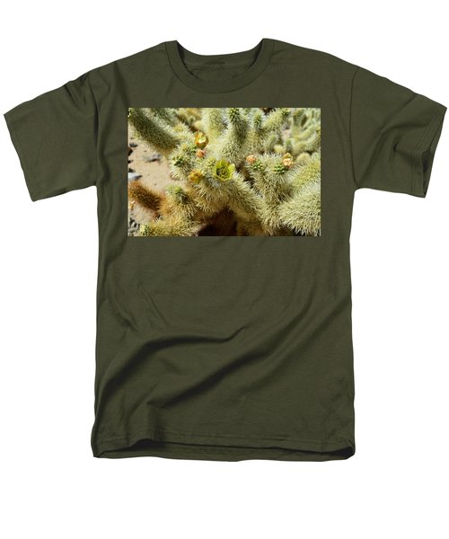 Flowering Cholla Cactus - Joshua Tree National Park Men's T-Shirt  (Regular Fit) by Glenn McCarthy