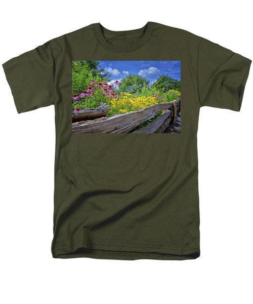 Flowers Along A Wooden Fence Men's T-Shirt  (Regular Fit) by Steve Hurt