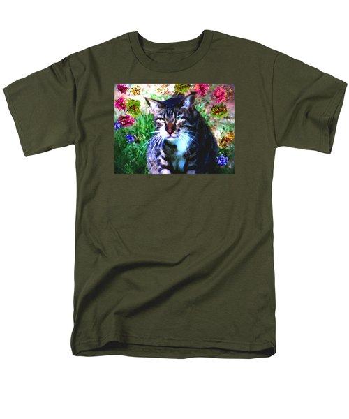 Flowers And Cat Men's T-Shirt  (Regular Fit) by Dr Loifer Vladimir