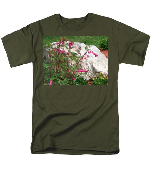 Men's T-Shirt  (Regular Fit) featuring the digital art Flowers On The Rocks by Barbara S Nickerson