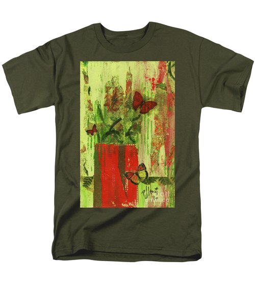 Men's T-Shirt  (Regular Fit) featuring the mixed media Flowers,butteriflies, And Vase by P J Lewis