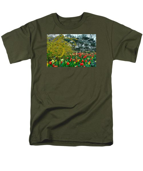 Men's T-Shirt  (Regular Fit) featuring the photograph Forsythia Tulips And Daffadils by Diana Mary Sharpton