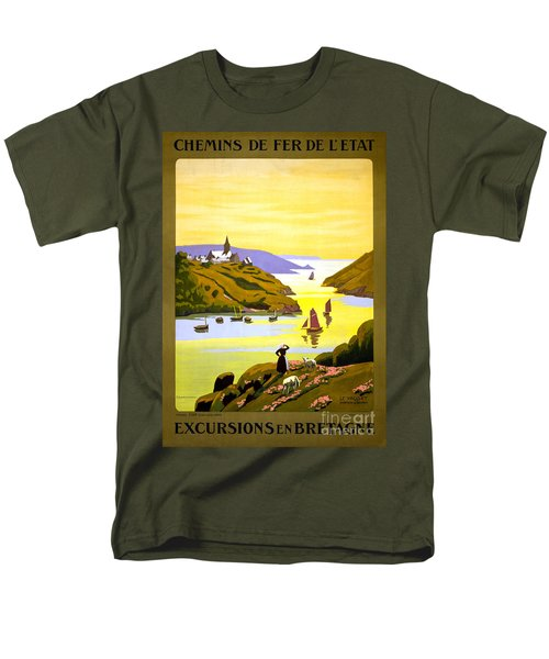 France Bretagne Vintage Travel Poster Restored Men's T-Shirt  (Regular Fit) by Carsten Reisinger