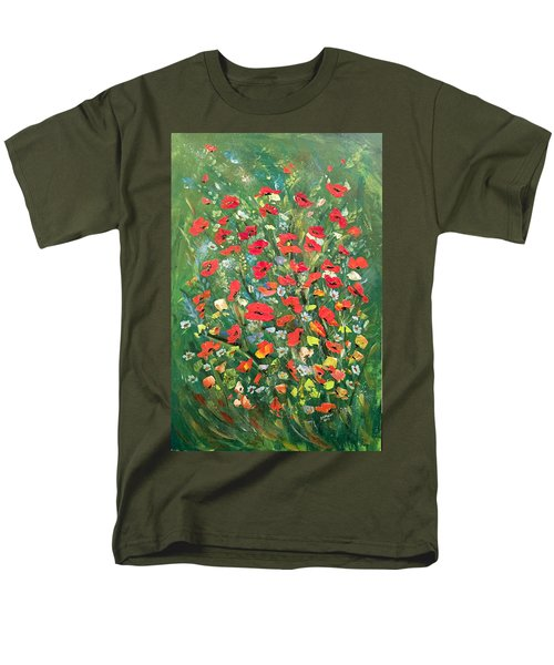 Men's T-Shirt  (Regular Fit) featuring the painting Fresh Poppies From The Garden by Dorothy Maier