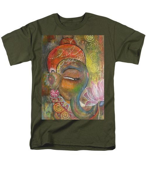 Ganesha With A Pink Lotus Men's T-Shirt  (Regular Fit) by Prerna Poojara