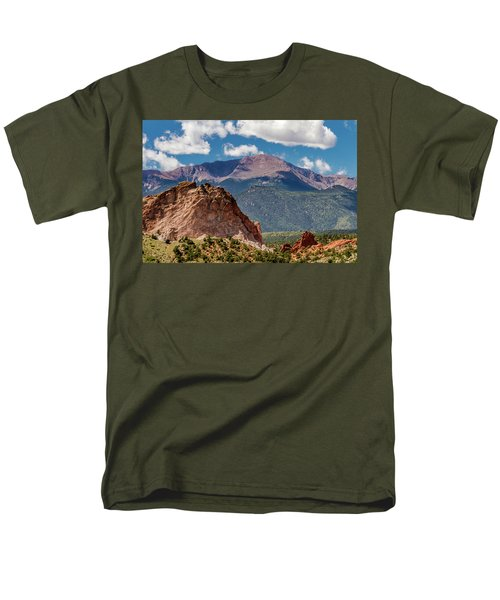 Men's T-Shirt  (Regular Fit) featuring the photograph Garden Of The Gods And Pikes Peak by Bill Gallagher
