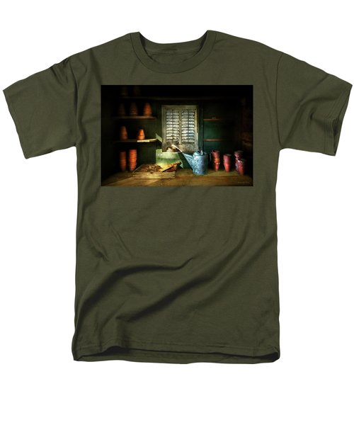 Men's T-Shirt  (Regular Fit) featuring the photograph Gardener - The Potters Shed by Mike Savad