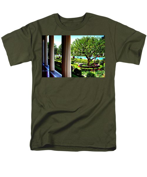 Men's T-Shirt  (Regular Fit) featuring the photograph Getty Villa Peristyle Garden by Joseph Hollingsworth