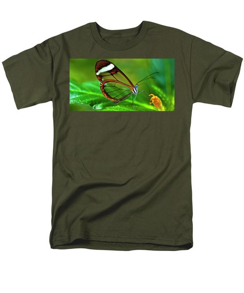 Men's T-Shirt  (Regular Fit) featuring the photograph Glasswinged Butterfly by Ralph A Ledergerber