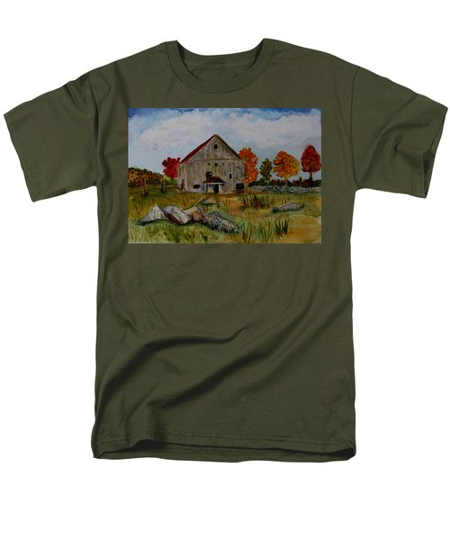 Men's T-Shirt  (Regular Fit) featuring the painting Glover Barn In Autumn by Donna Walsh