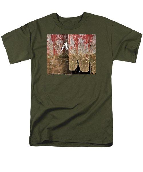 Goat And Old Barn Door Men's T-Shirt  (Regular Fit) by Susan Leggett