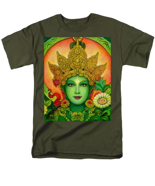 Goddess Green Tara's Face Men's T-Shirt  (Regular Fit) by Sue Halstenberg