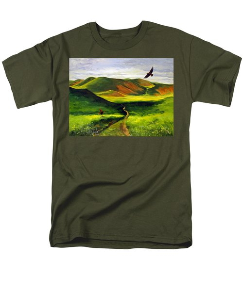 Men's T-Shirt  (Regular Fit) featuring the painting Golden Eagles On Green Grassland by Suzanne McKee