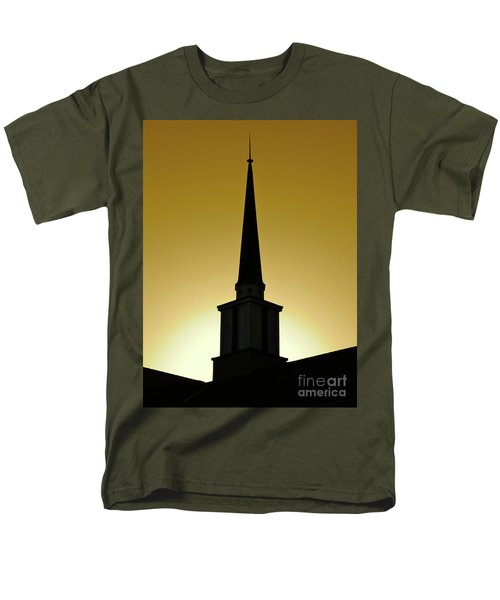 Men's T-Shirt  (Regular Fit) featuring the photograph Golden Sky Steeple by CML Brown
