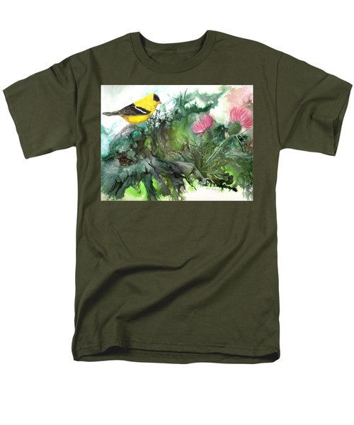 Men's T-Shirt  (Regular Fit) featuring the painting Goldfinch by Sherry Shipley