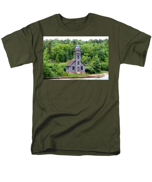 Men's T-Shirt  (Regular Fit) featuring the photograph Grand Island East Channel Lighthouse #6549 by Mark J Seefeldt