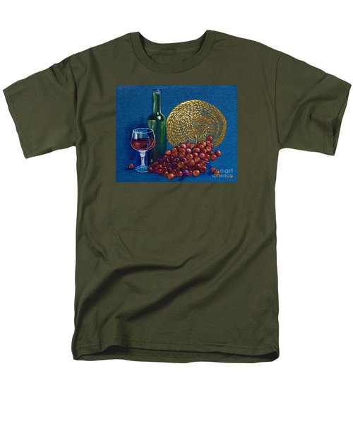 Men's T-Shirt  (Regular Fit) featuring the painting Grapes And Wine by AnnaJo Vahle