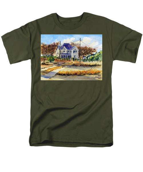 Men's T-Shirt  (Regular Fit) featuring the painting Grayson County Farmhouse by Ron Stephens