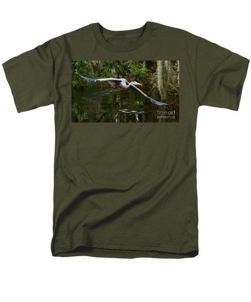 Great Blue Heron Flight Men's T-Shirt  (Regular Fit) by Myrna Bradshaw