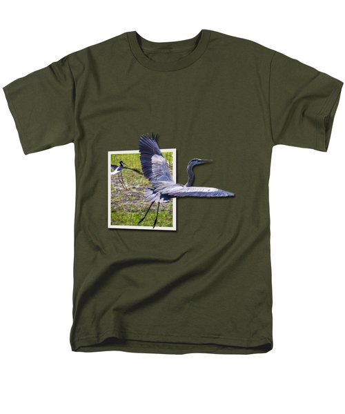 Great Blue Heron Takes Flight Men's T-Shirt  (Regular Fit) by Roger Wedegis