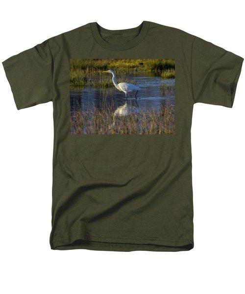 Great Egret, Ardea Alba, In A Pond Men's T-Shirt  (Regular Fit) by Elenarts - Elena Duvernay photo