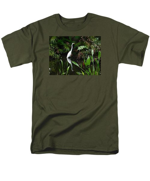 Great Egret In Pond Men's T-Shirt  (Regular Fit) by Melinda Saminski