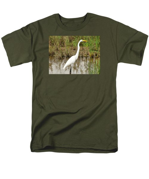 Men's T-Shirt  (Regular Fit) featuring the painting Great Egret by Maciek Froncisz