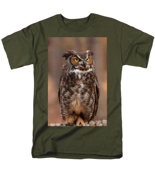 Men's T-Shirt  (Regular Fit) featuring the digital art Great Horned Owl Digital Oil by Chris Flees
