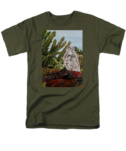 Men's T-Shirt  (Regular Fit) featuring the painting Great Horned Owl - Owl On The Rocks by Marilyn  McNish
