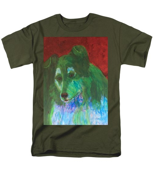 Men's T-Shirt  (Regular Fit) featuring the painting Green Collie by Donald J Ryker III