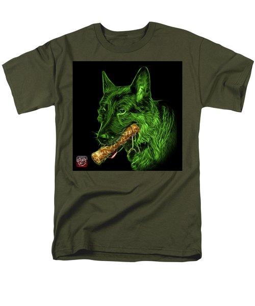 Green German Shepherd And Toy - 0745 F Men's T-Shirt  (Regular Fit) by James Ahn