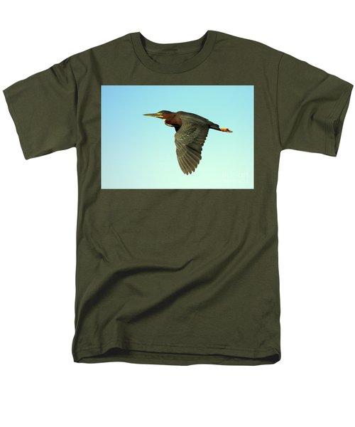 Men's T-Shirt  (Regular Fit) featuring the photograph Green Heron Flight by Myrna Bradshaw