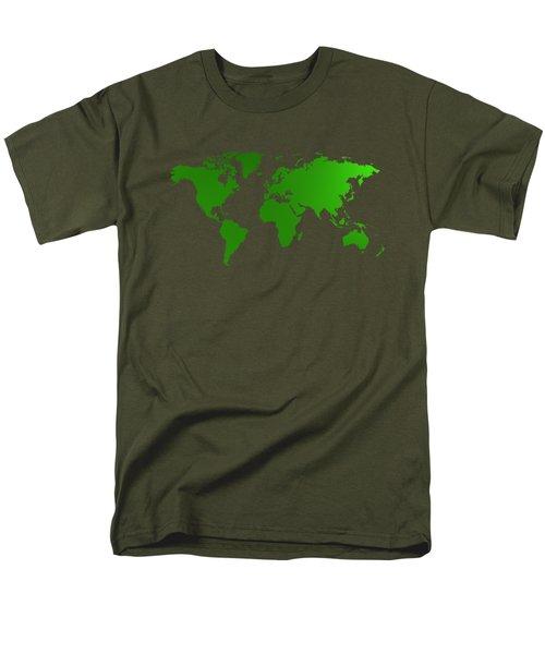 Green Map Of The World Men's T-Shirt  (Regular Fit) by Alberto RuiZ