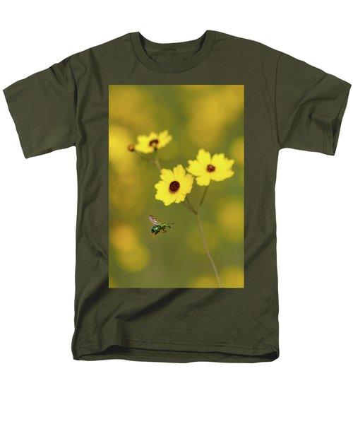 Green Metallic Bee Men's T-Shirt  (Regular Fit)