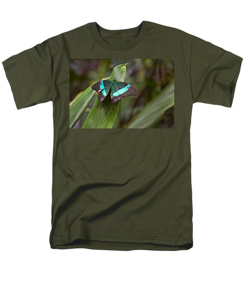 Men's T-Shirt  (Regular Fit) featuring the photograph Green Moss Peacock Butterfly by Peter J Sucy
