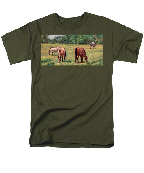 Green Pastures - Horses Grazing In A Field Men's T-Shirt  (Regular Fit) by Bonnie Mason