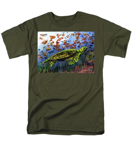 Green Sea Turtle Men's T-Shirt  (Regular Fit) by Randy Sprout