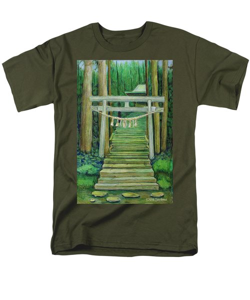 Men's T-Shirt  (Regular Fit) featuring the drawing Green Stairway by Tim Ernst