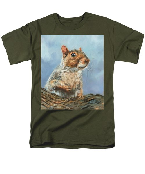 Men's T-Shirt  (Regular Fit) featuring the painting Grey Squirrel by David Stribbling
