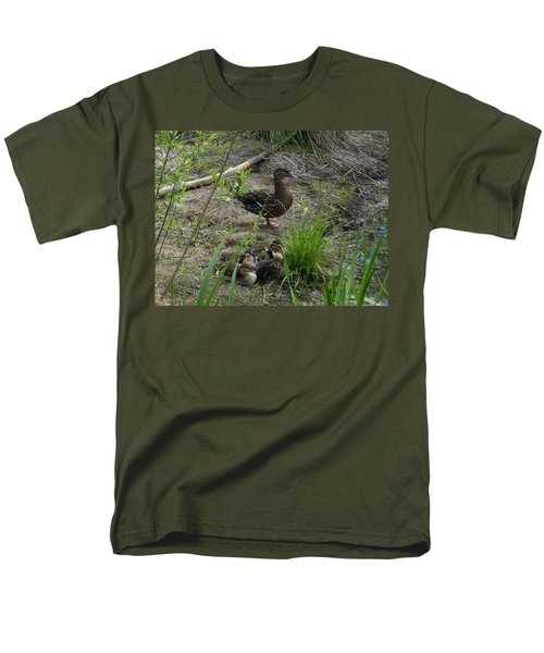 Men's T-Shirt  (Regular Fit) featuring the photograph Guarding The Ducklings by Donald C Morgan