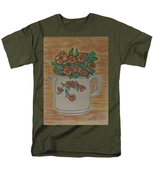 Men's T-Shirt  (Regular Fit) featuring the painting Hall China Orange Poppy And Poppies by Kathy Marrs Chandler