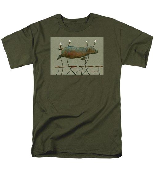 Happy Hippo Swimming Men's T-Shirt  (Regular Fit) by Juan  Bosco