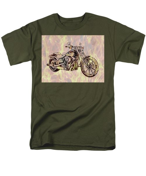 Men's T-Shirt  (Regular Fit) featuring the mixed media Harley Motorcycle On Flames by Dan Sproul