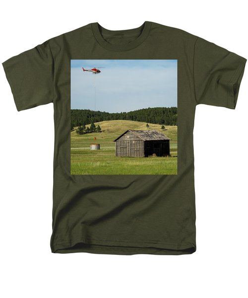 Helicopter Dips Water At Heliwell Men's T-Shirt  (Regular Fit) by Bill Gabbert