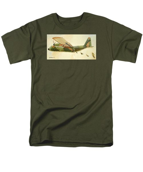 Men's T-Shirt  (Regular Fit) featuring the painting Hercules Paratroop Drop by Paul Clinkunbroomer