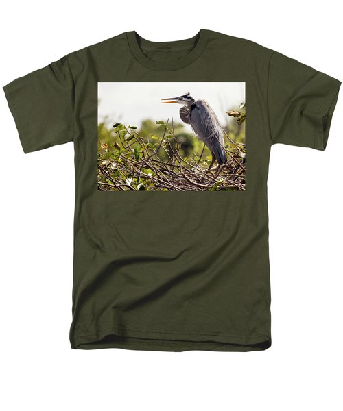 Heron In Nest Men's T-Shirt  (Regular Fit) by Jim Gillen