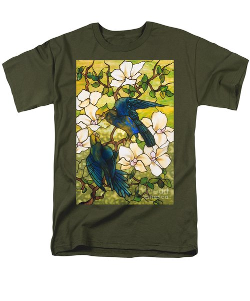 Hibiscus And Parrots Men's T-Shirt  (Regular Fit) by Louis Comfort Tiffany
