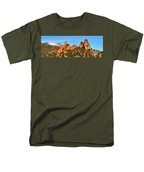 Men's T-Shirt  (Regular Fit) featuring the photograph High Point Panorama At Garden Of The Gods by Adam Jewell