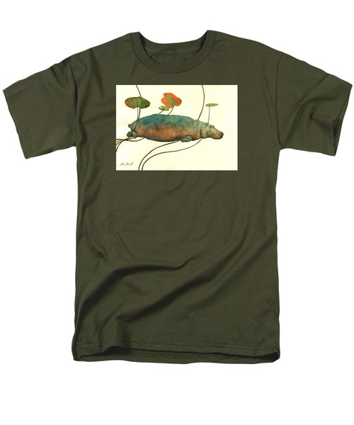 Hippo Swimming With Water Lilies Men's T-Shirt  (Regular Fit)