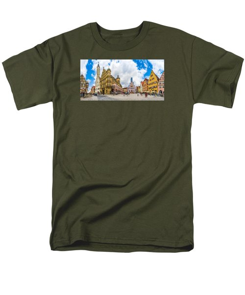 Historic Townsquare Of Rothenburg Ob Der Tauber, Franconia, Bava Men's T-Shirt  (Regular Fit) by JR Photography